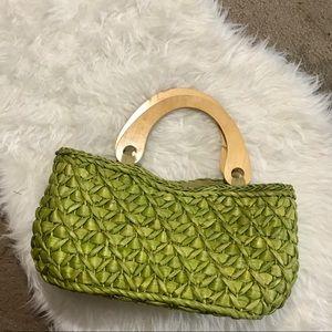 Handbags - Wooden Handle Straw Bag